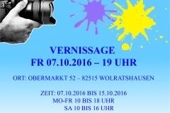 """Plakat zur Vernissage und Ausstellung """"Klick & Klecks"""" (Jill Ofenbeck)"""