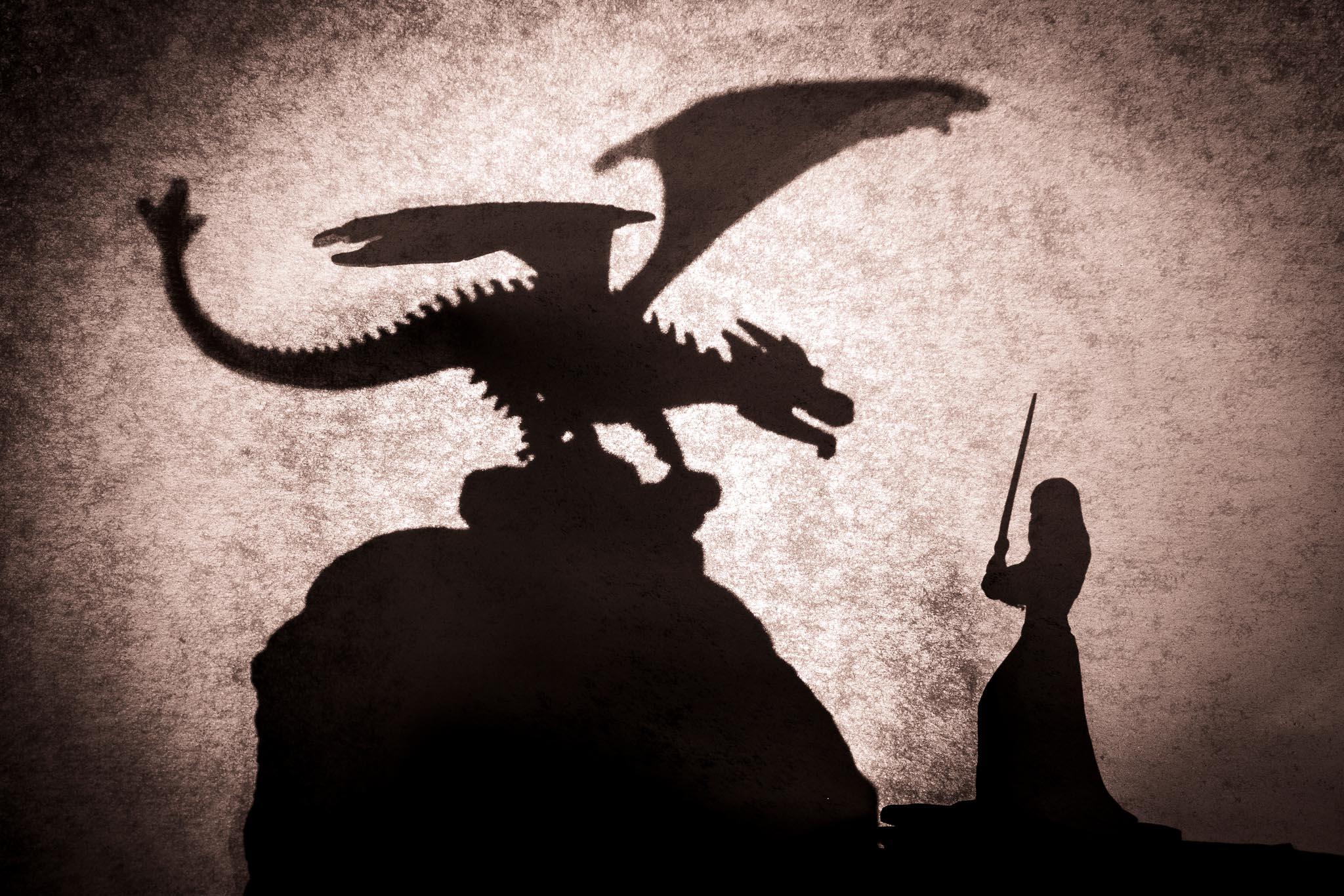 Stillleben Schattenspiele Drachen vs Maid (Foto: Andy Ilmberger)