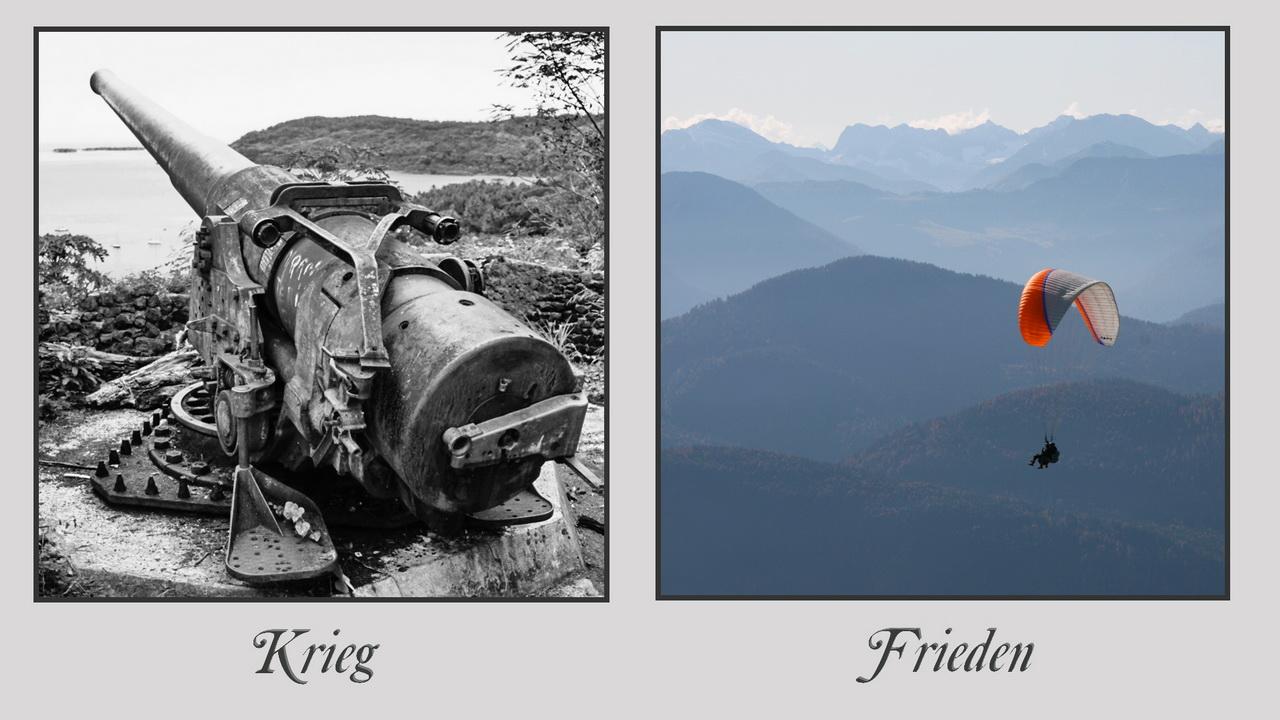 "Bildpaar ""Krieg - Frieden"" (Foto: Klaus-Peter Volkmann)"