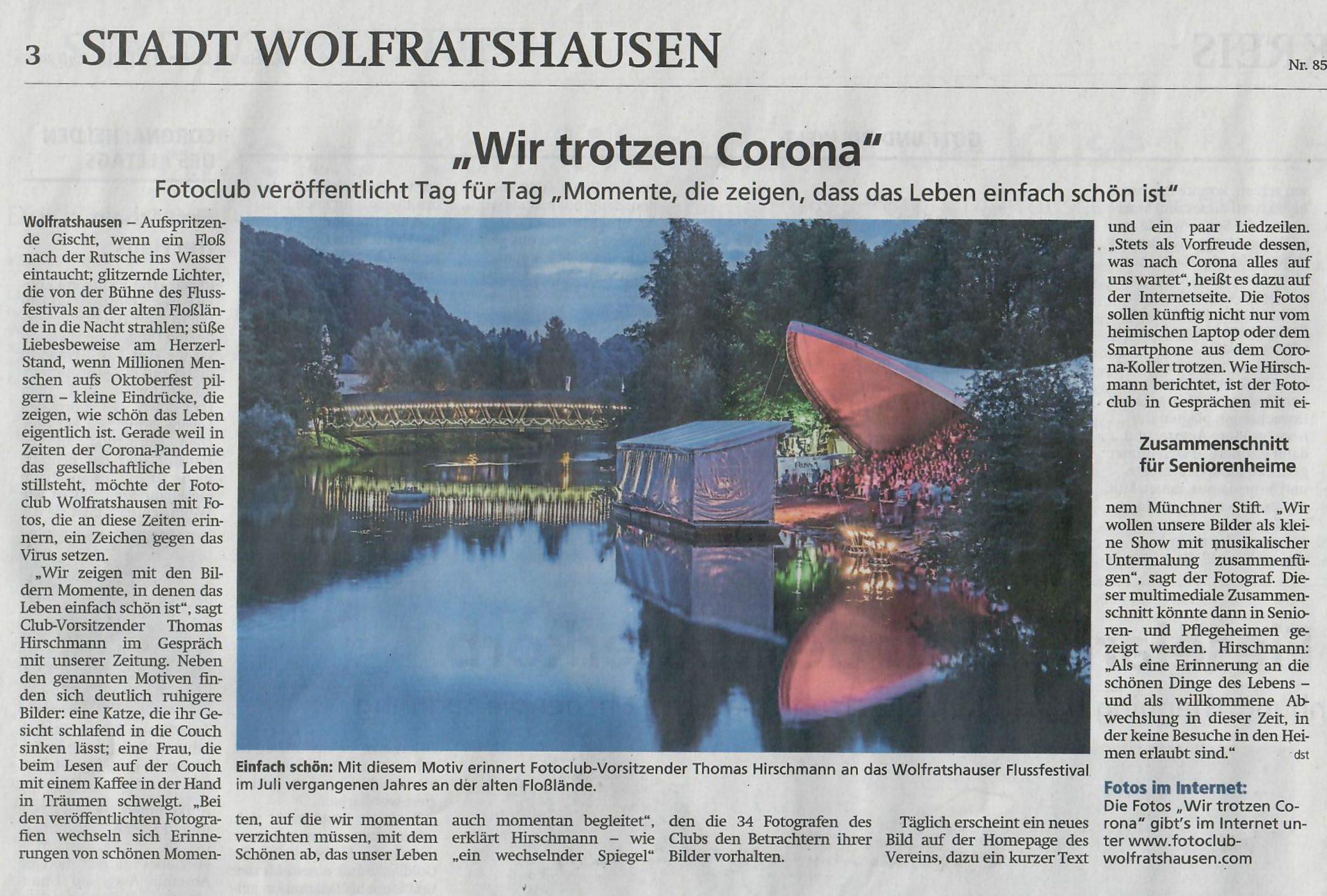 FCW Corona-Aktion in der Presse