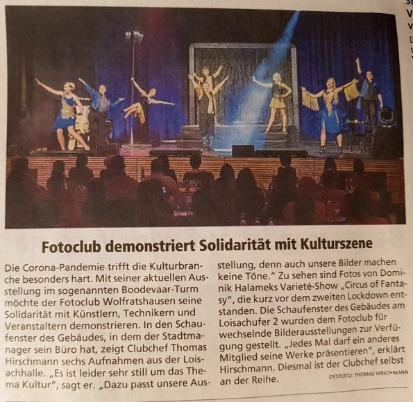 Isar-Loisachbote/Merkur (11.02.2021): Fotoclub demonstriert Solidarität mit Kulturszene